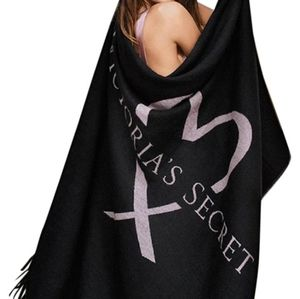 Victorias Secret black and pink fringe throw
